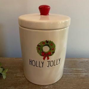 """NWT Rae Dunn """"HOLLY JOLLY"""" Wreath Canister/Jar"""